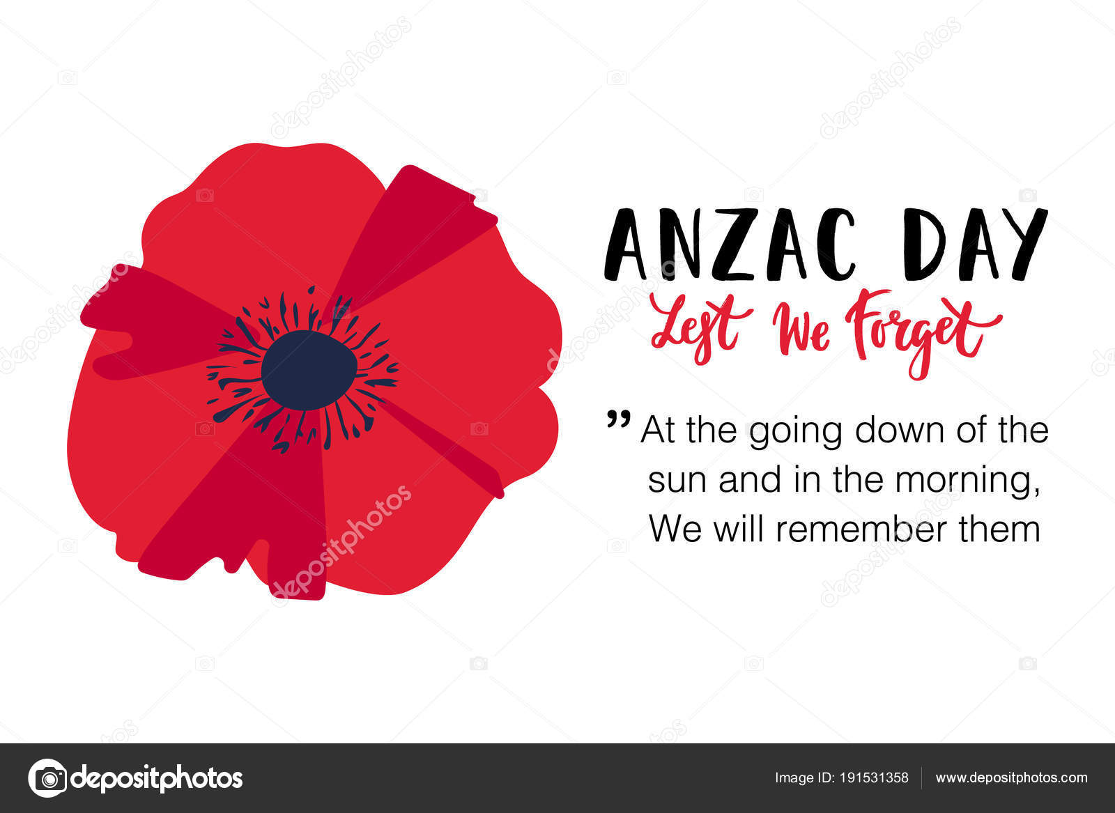 Vector illustration bright poppy flower remembrance day symbol lest vector illustration of a bright poppy flower remembrance day symbol lest we forget lettering anzac day banner design with space for text mightylinksfo