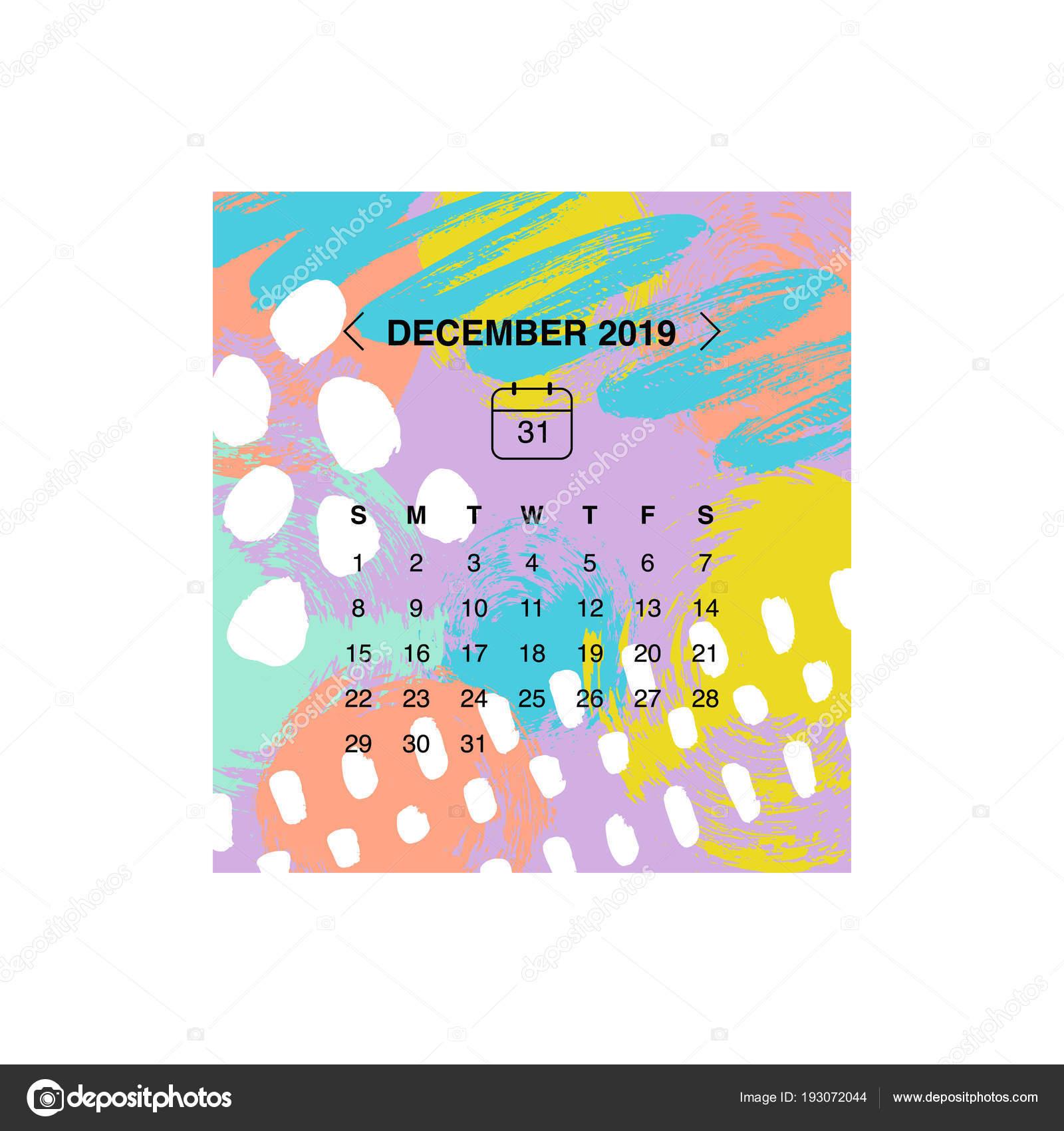 2019 decemberi naptár Vektoros Illusztráció Tervezési Naptár December 2019 — Stock  2019 decemberi naptár