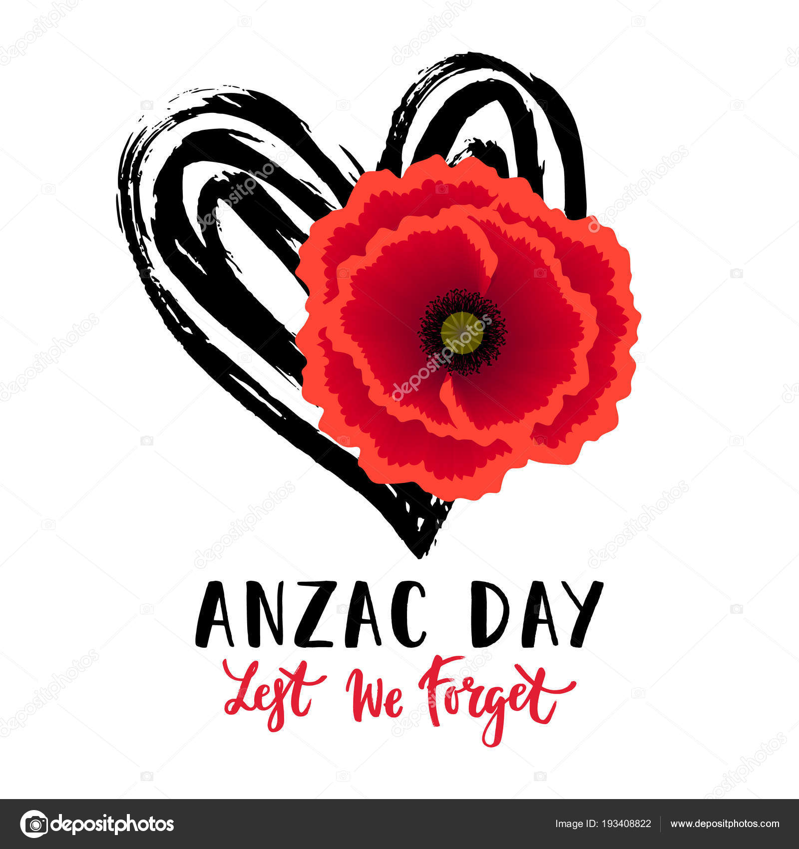Vector illustration bright realistic poppy flower remembrance day vector illustration of a bright realistic poppy flower remembrance day symbol lest we forget lettering anzac day lettering vector by barkarola mightylinksfo