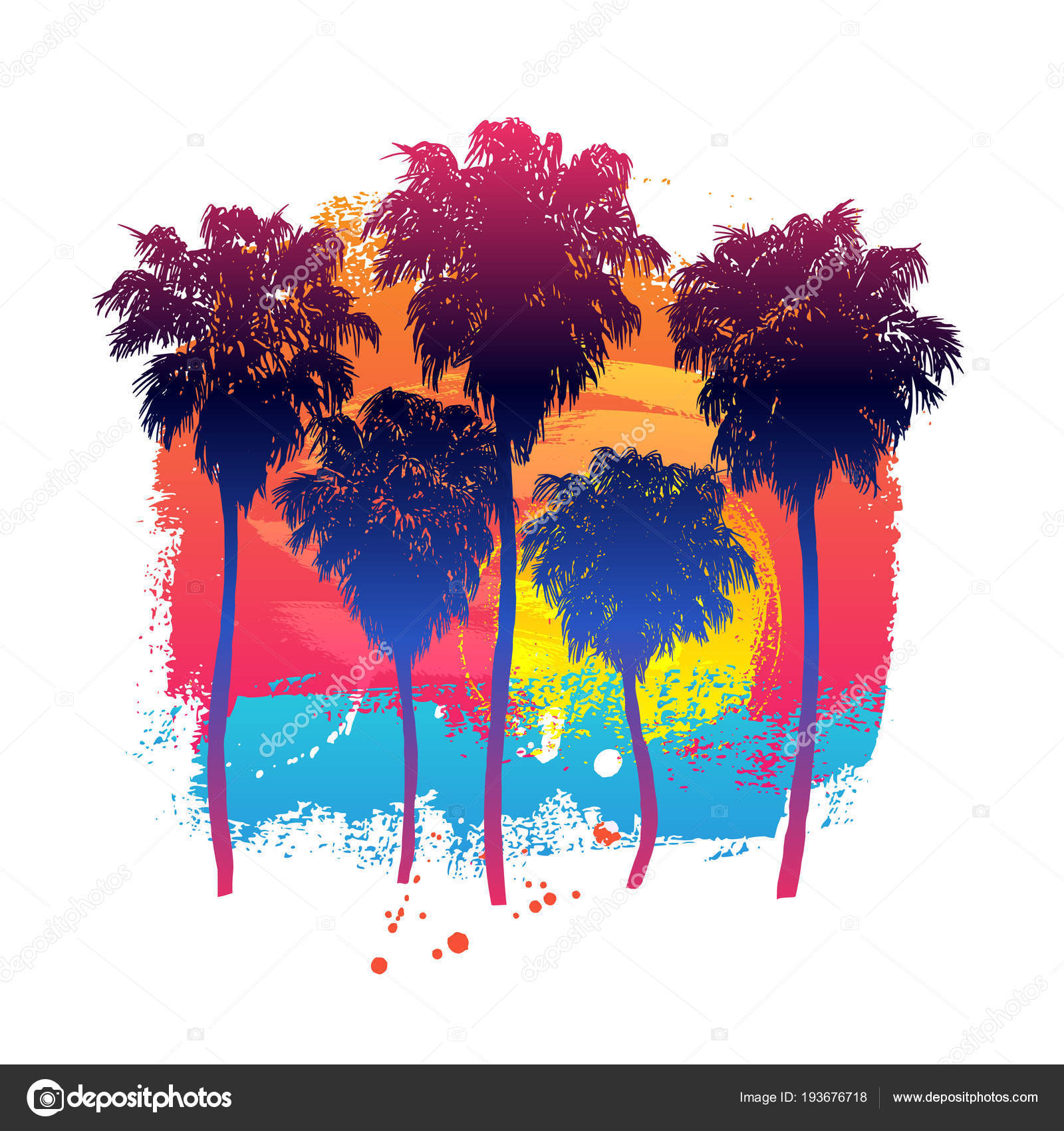 Vector Illustration Hand Drawn Palm Trees Paint Background Design Element Vector Image By C Barkarola Vector Stock 193676718