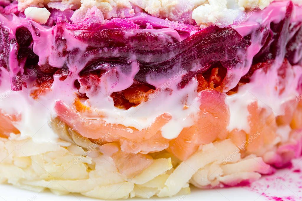 Salad with mayonnaise and beet