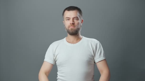 Video of frowned adult man with beard