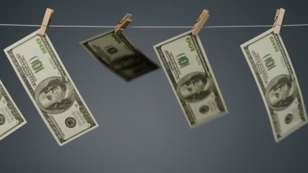 Shooting of fluttering currency on clothesline rope