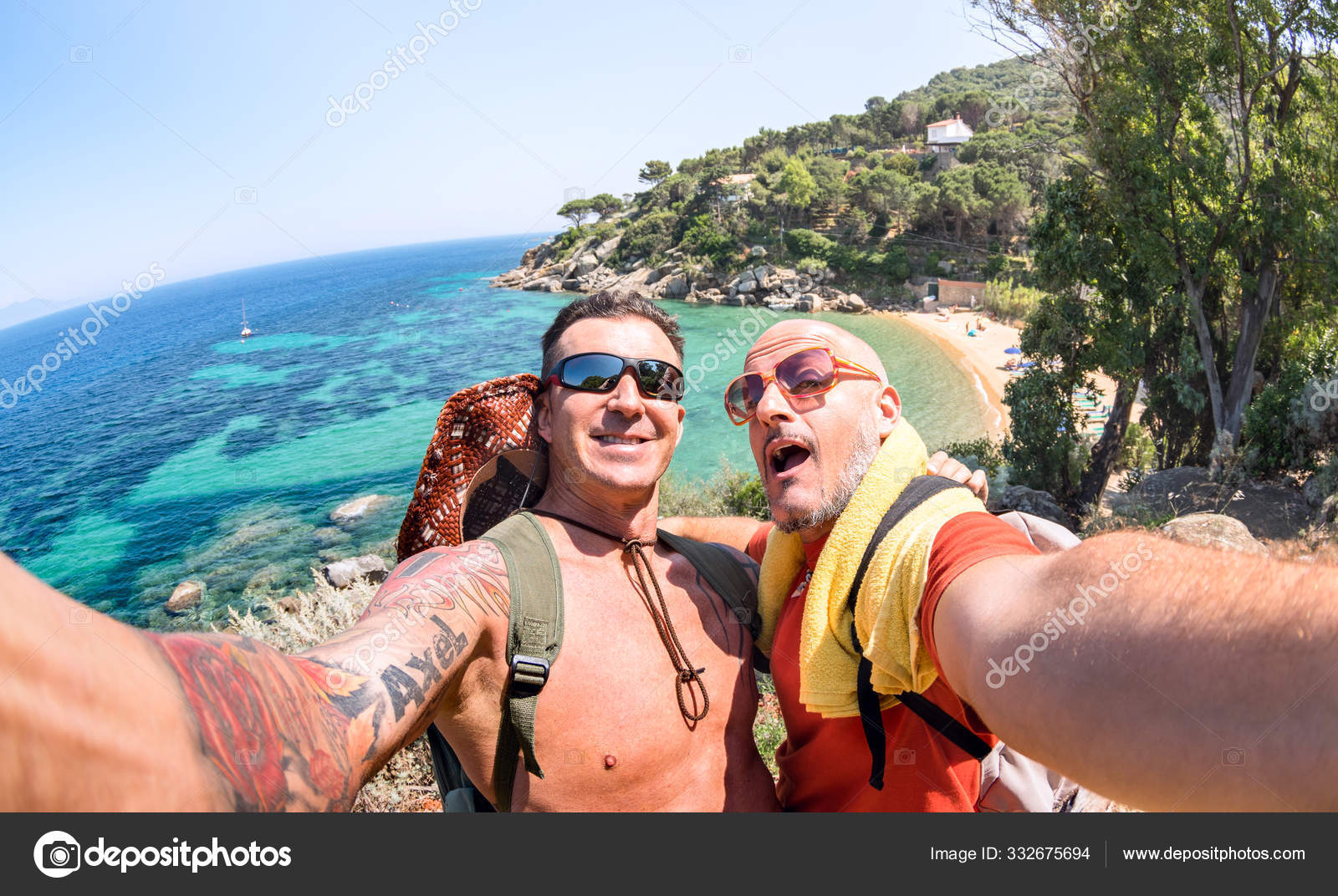 Best Friends Taking Selfie At Giglio Island On Adventure Travel Wanderlust Lifestyle Concept With Gay Couple Enjoying Happy Fun Moment Trip Together Around World Beauties Bright Vivid Filter