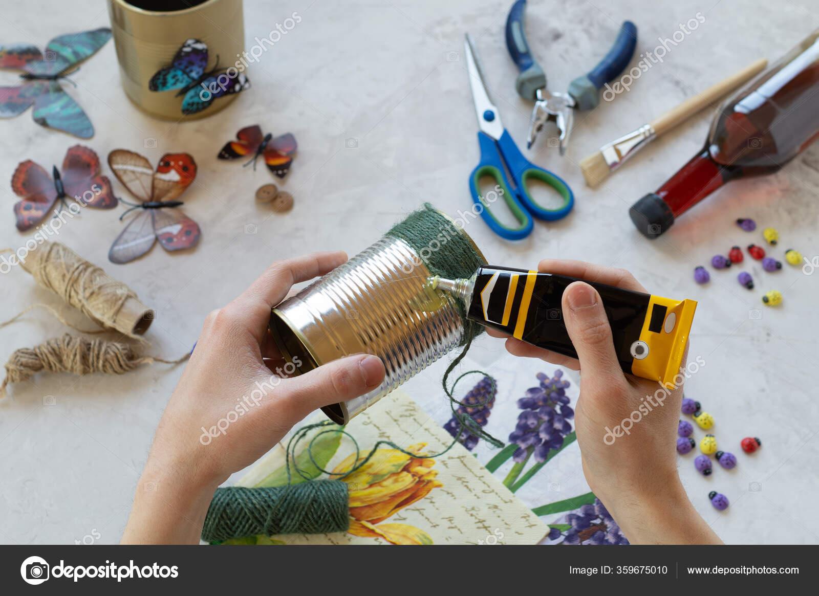 Decorating A Tin Can Creation Stock Photo C Beregina84 Mail Ru 359675010