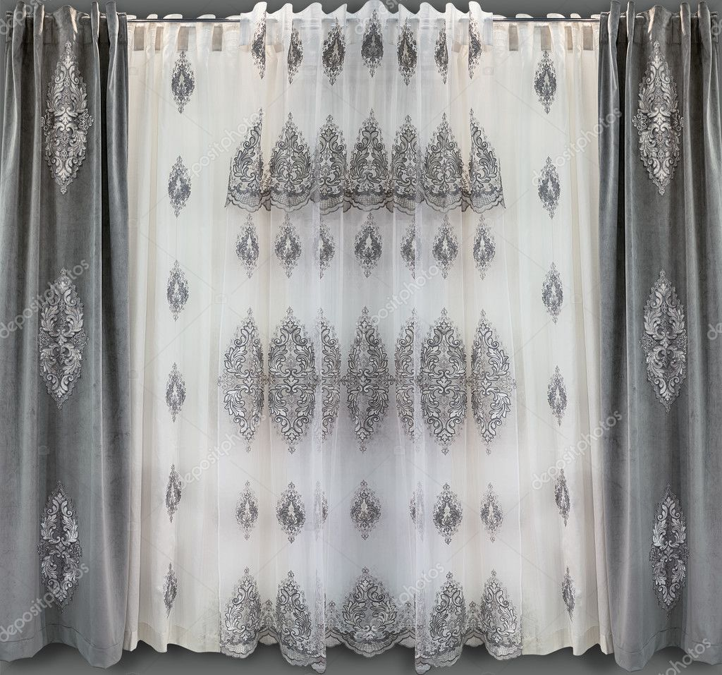 Direct Curtains Of Gray Velvet With Applique And The Light Tulle From A Thin Translucent Organza With The Embroidery Stock Photo Image By C Fotiy 125951338