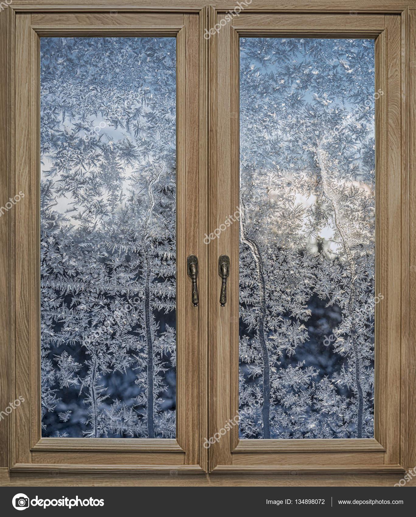 Fenêtre En Bois Et Verre Dépoli Avec Les Patrons De Frosty