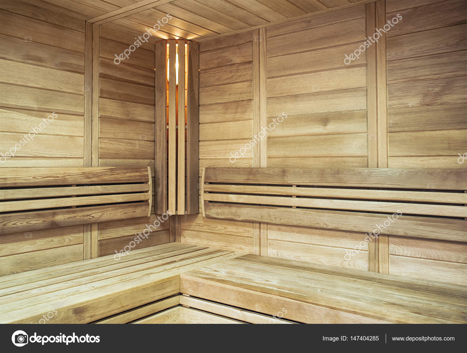 Die Gemutliche Einrichtung Der Sauna Mit Beleuchtet In Der