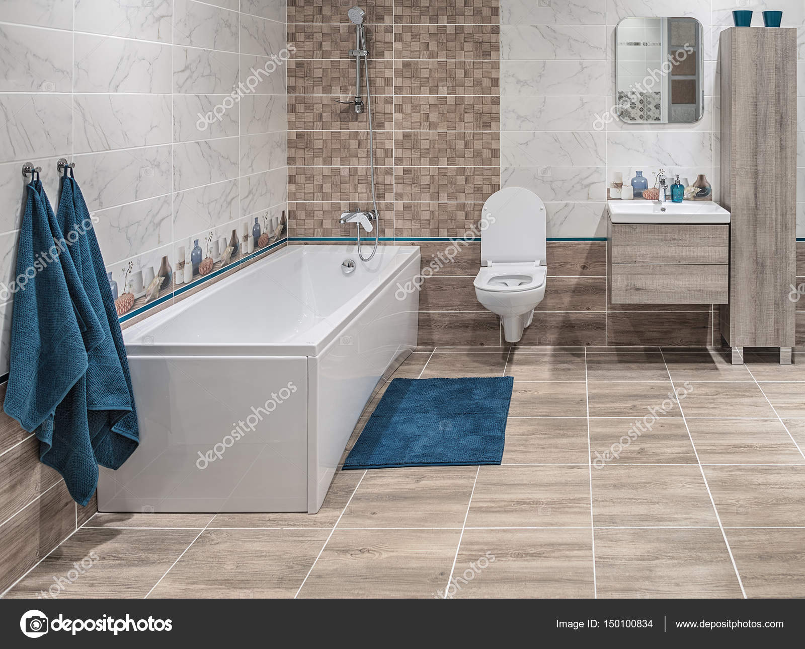 Large Bathroom In A Modern Style Straight Laconic Forms Natural Materials Wall And Flor Decoration With Tiles Stock Editorial Photo C Fotiy 150100834