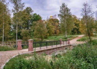 Moscow region. Istra. A new brick bridge and an old wooden bridge near the Resurrection New Jerusalem Monastery.