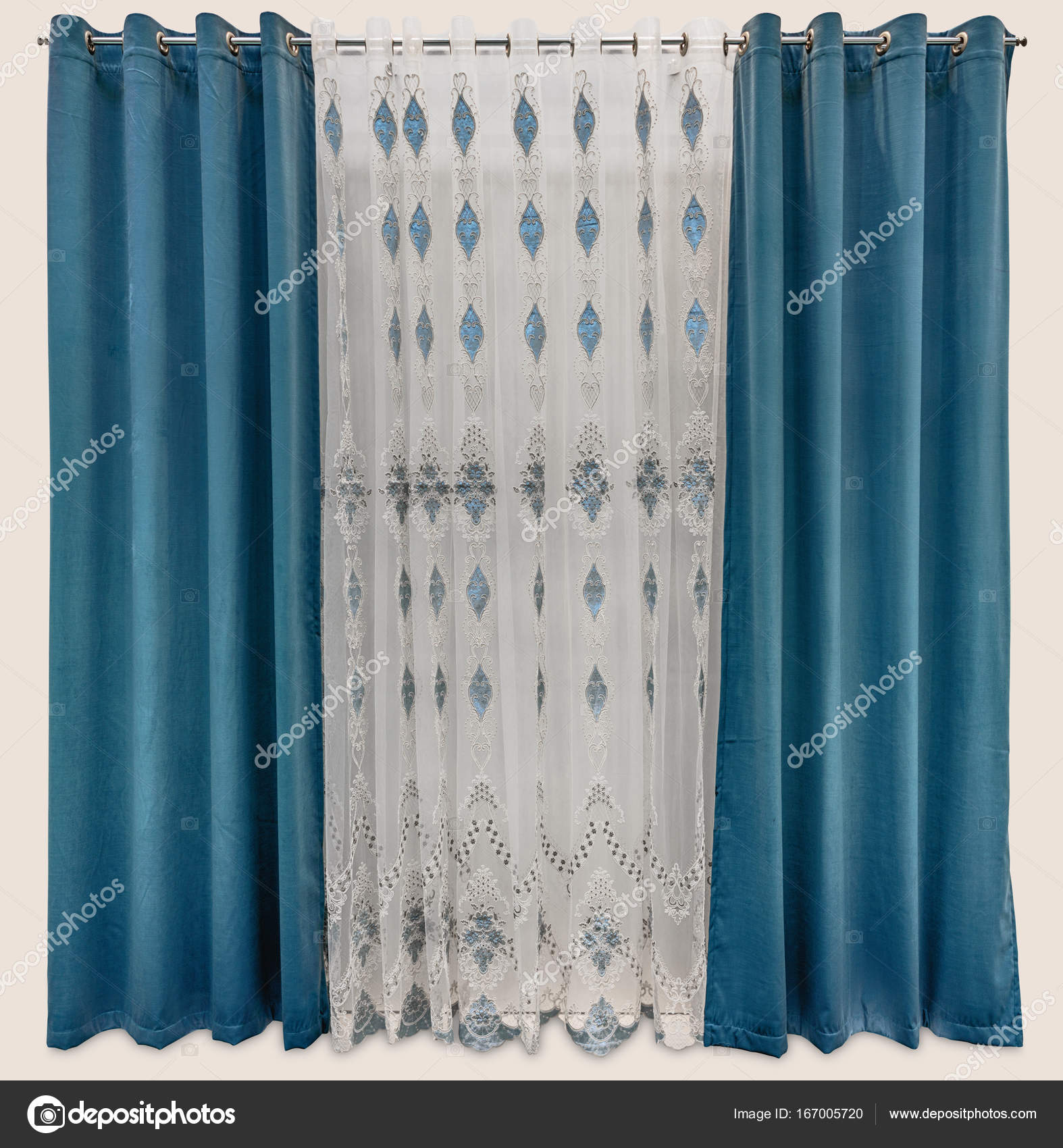 Stylish Interior Design With A Cloth Blue Curtains Eyelets On The Round Cornice And Luxurious Tulle Patterns Photo By Fotiy
