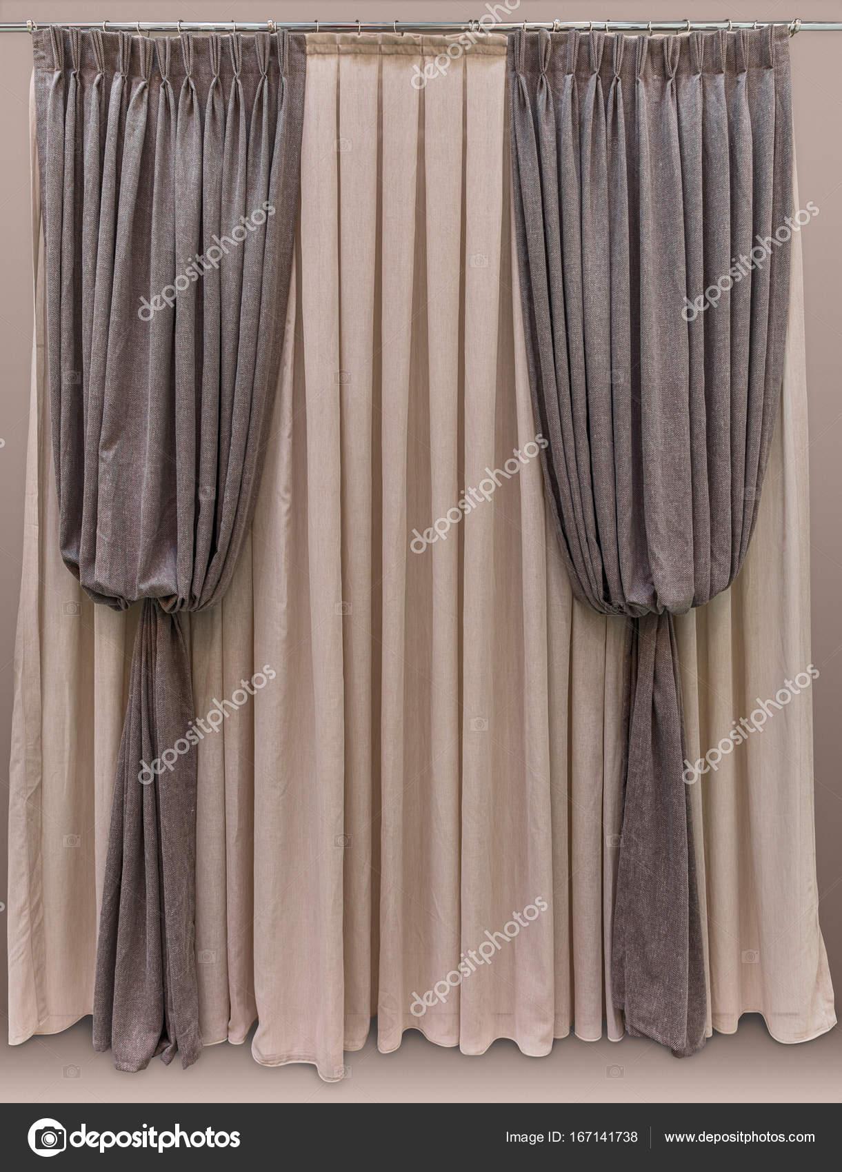 Gordijnen gemaakt van wollen stof, bruin model: \