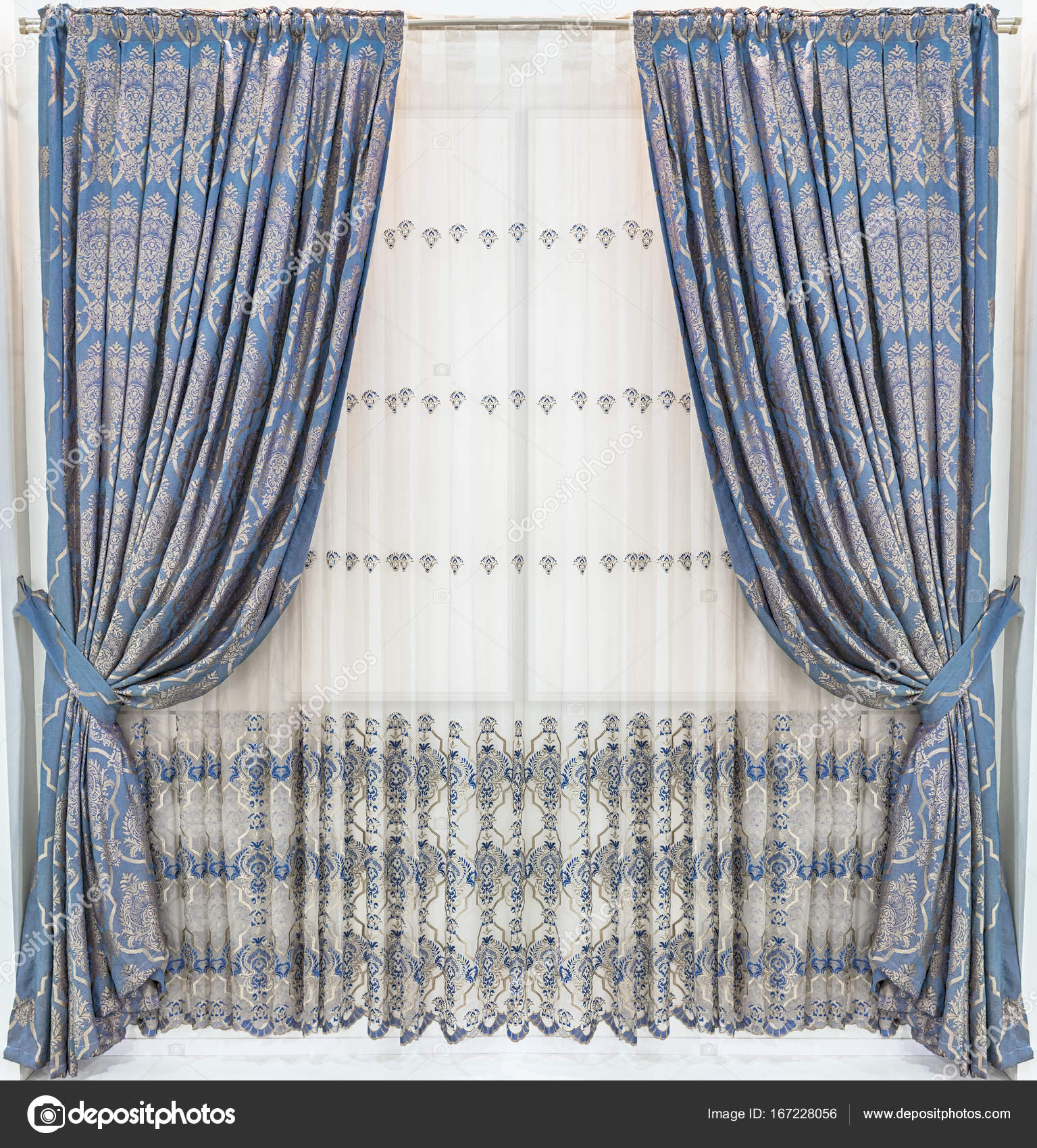 Stylish Design Of Window And Doorways. Hidden Tab Top Curtain Panels With  Ornament And Light