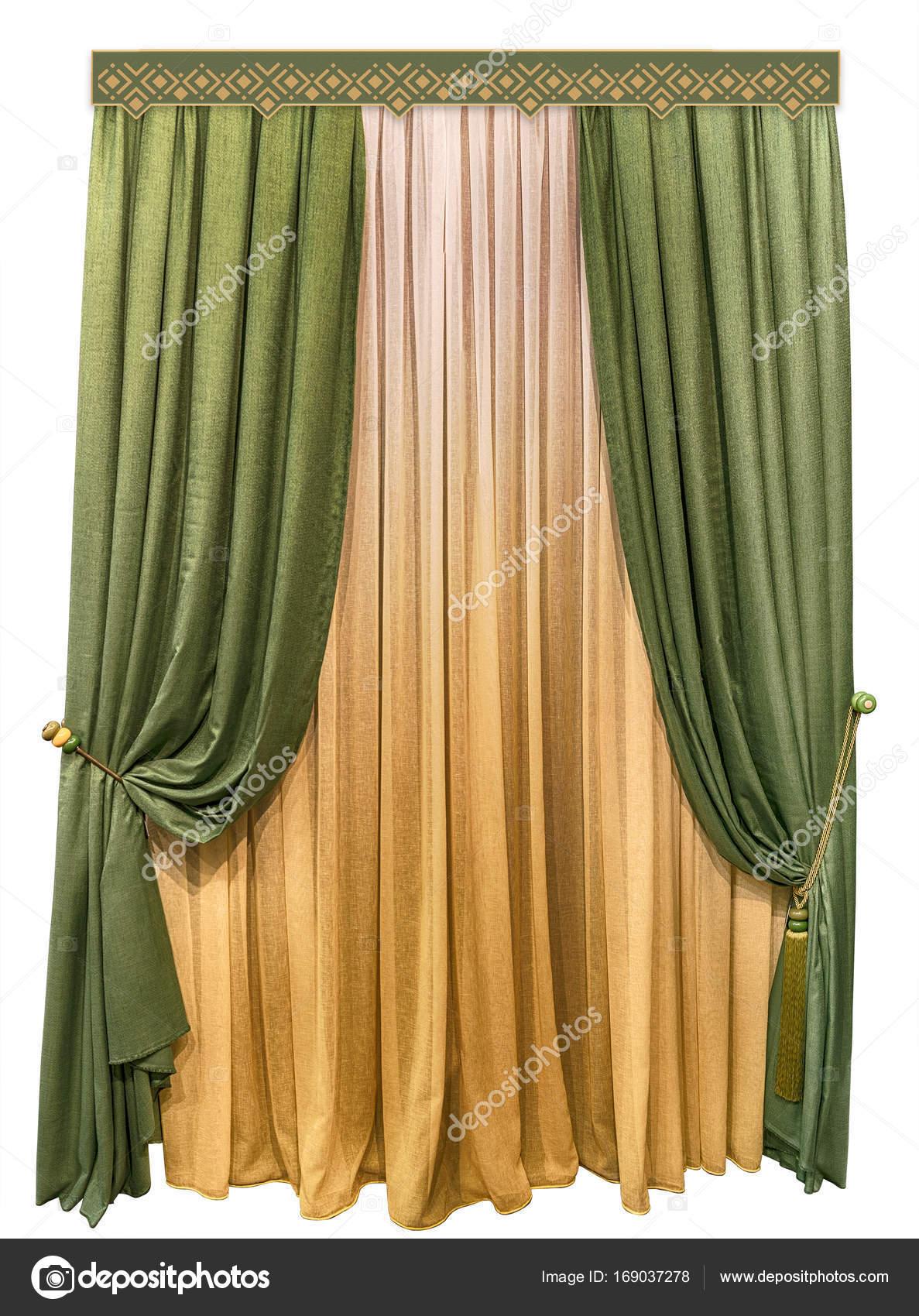 Groene gordijnen gemaakt van wollen weefsel. Linnen tulle met een ...