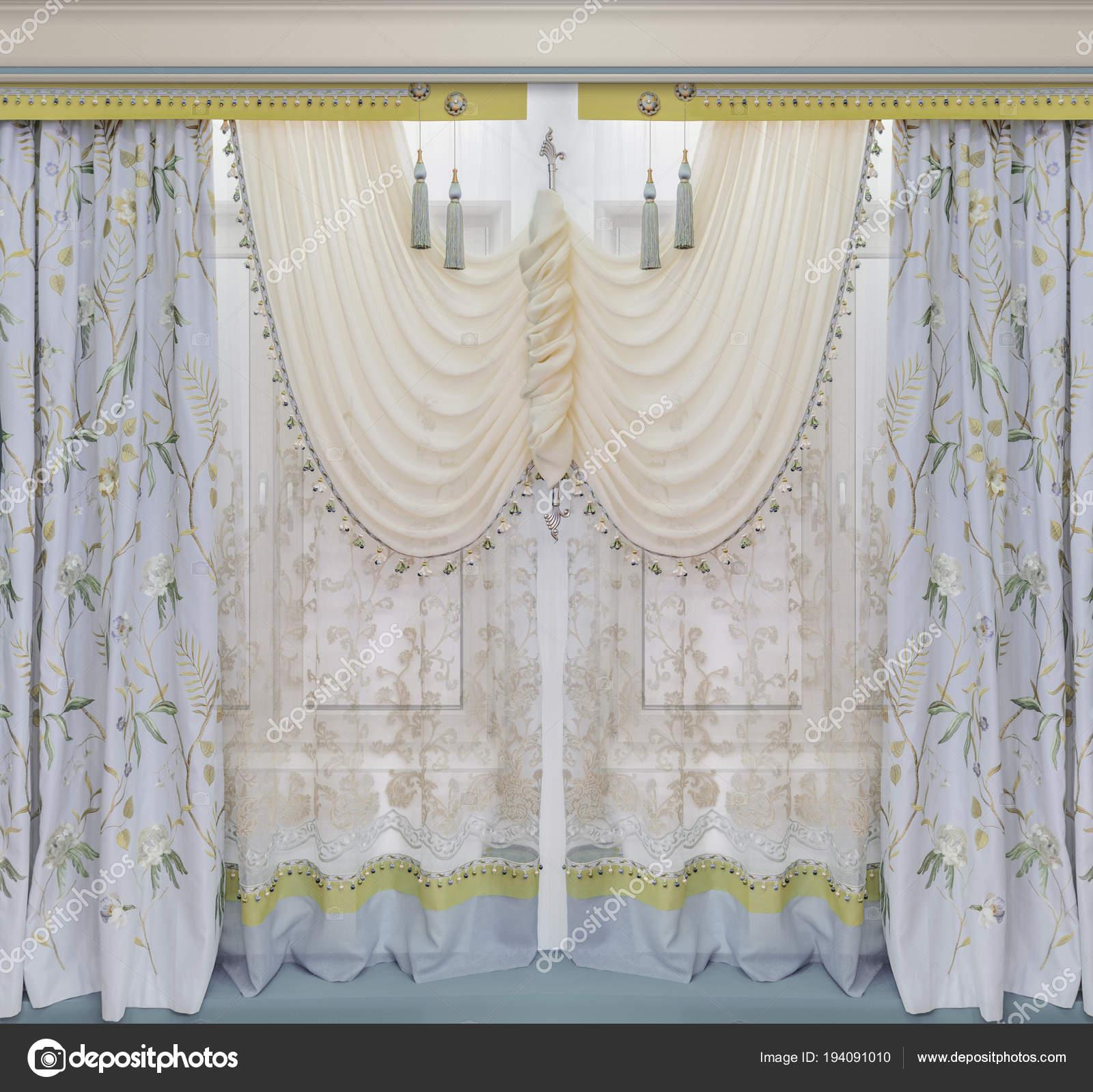 Luxe Window Dressing In Het Interieur Gordijnen Met Bloemmotief