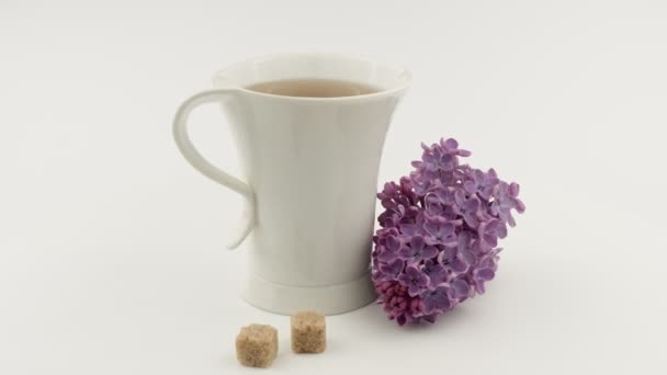 Tea Cup, brown sugar and purple lilacs. White background.