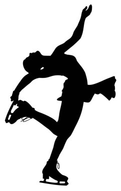 silhouette of a female figure skating athlete vector illustration