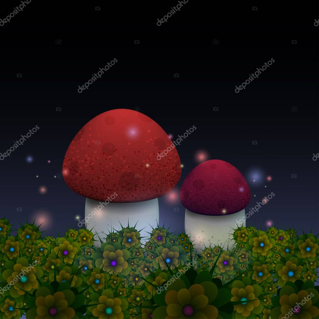 Magic mushrooms with fireflies in the night fairy forest.