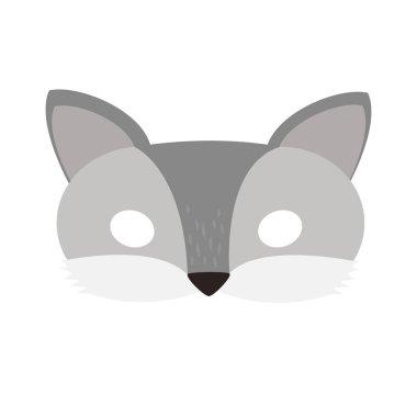 illustration carnival mask forest animal cartoon gray wolf.