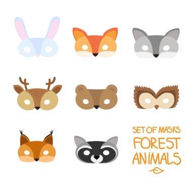 illustration set of cartoon animal forest carnival masks: bear,
