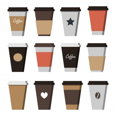 Set of Coffee Cup - Mockup template for Cafe, Restaurant brand identity design. Flat Style. Black, White, Brown cardboard Coffee Cup Mockup. Disposable plastic and paper tableware vector template for Hot Drinks