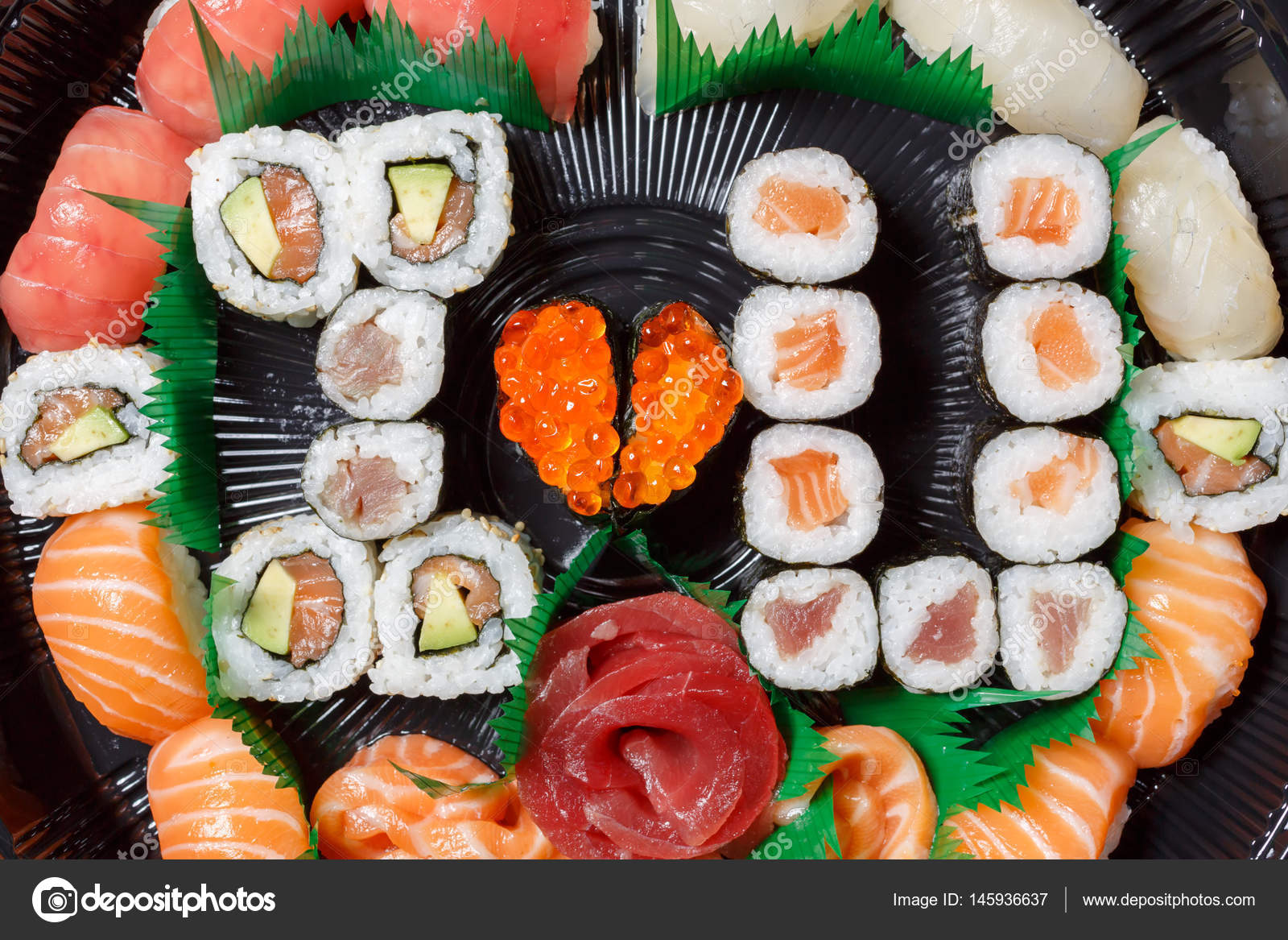 A Large Set Of Sushi And Rolls View From Above Lot Food In One Plate Dishes Raw Fish Japanese FoodA Dish Romantic Style I Love You