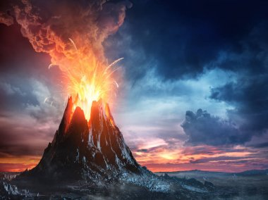 Volcanic Mountain In Eruption