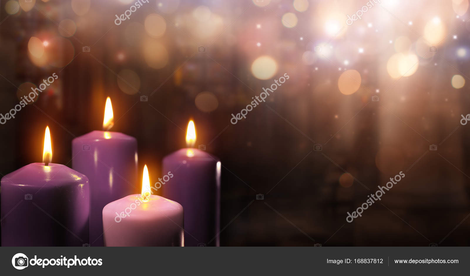 Advent candles in church three purple and one pink as a catholic advent candles in church three purple and one pink as a catholic symbol and bokeh lights photo by rfphoto buycottarizona Gallery