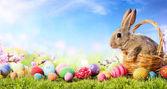 Malý zajíček v koši s zdobené kraslice - Velikonoční přání