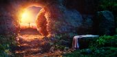 Fotografie Kreuzigung bei Sonnenaufgang - leeres Grab mit Leichentuch - Auferstehung Jesu Christi