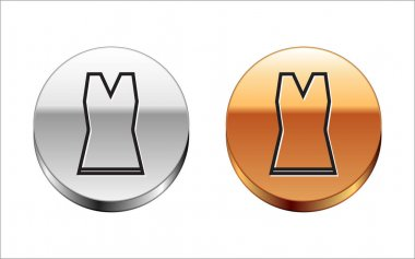 Black line Woman dress icon isolated on white background. Clothes sign. Silver-gold circle button. Vector Illustration