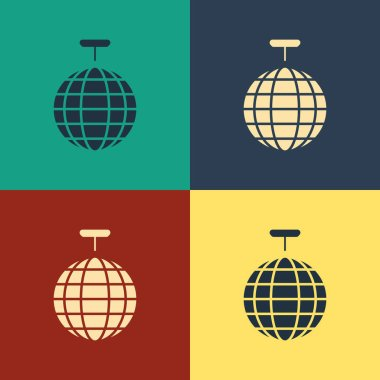 Color Disco ball icon isolated on color background. Vintage style drawing. Vector Illustration