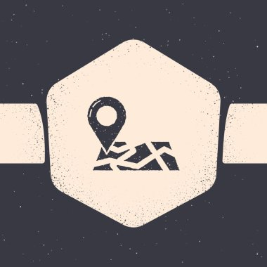 Grunge Folded map with location marker icon isolated on grey background. Monochrome vintage drawing. Vector Illustration