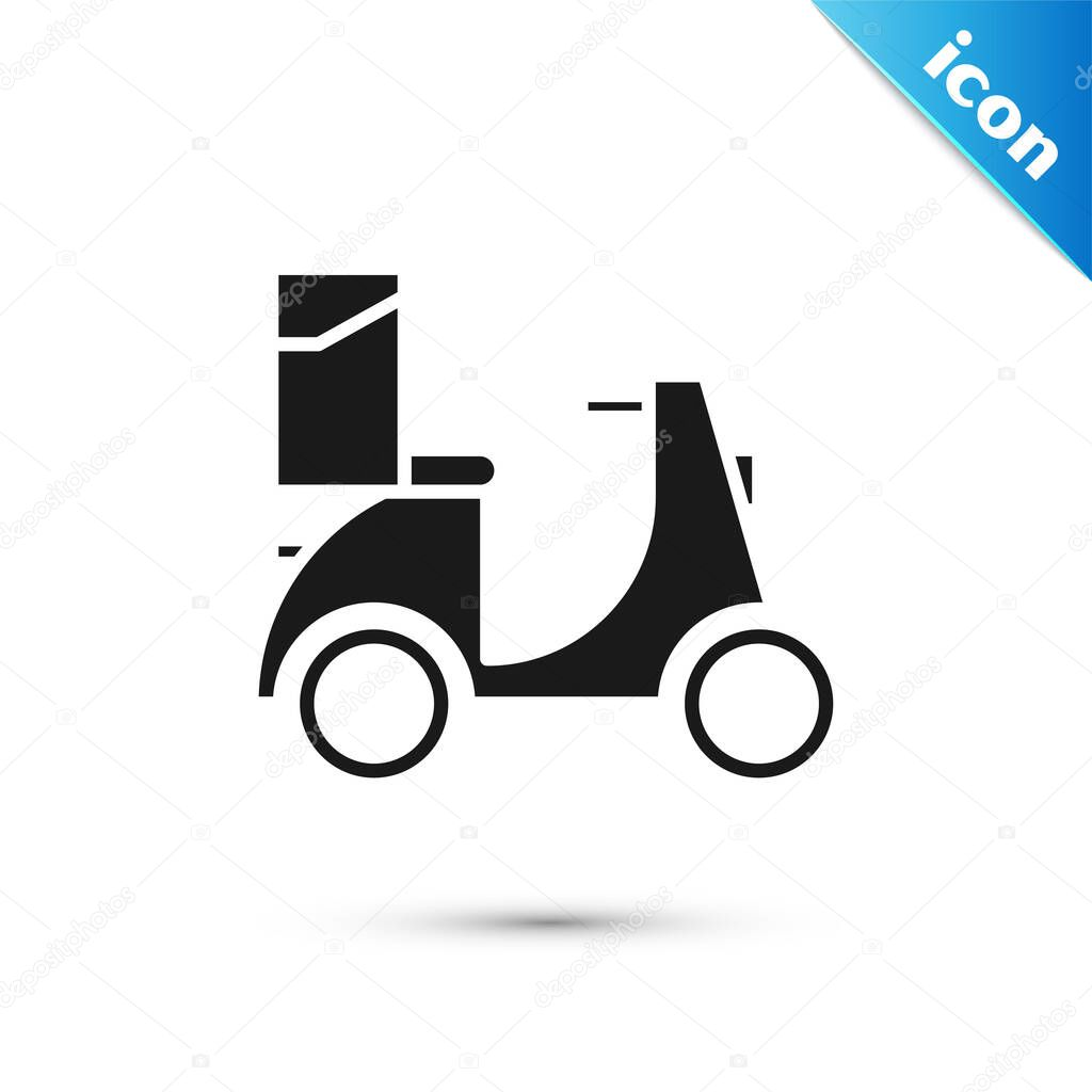 Black Scooter delivery icon isolated on white background. Delivery service concept. Vector Illustration