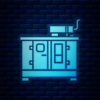 Glowing neon Diesel power generator icon isolated on brick wall background. Industrial and home immovable power generator. Vector Illustration