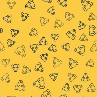 """Картина, постер, плакат, фотообои """"синяя линия иконка охотничьей собаки выделена безморским узором на желтом фоне. векторная миграция море"""", артикул 320129078"""