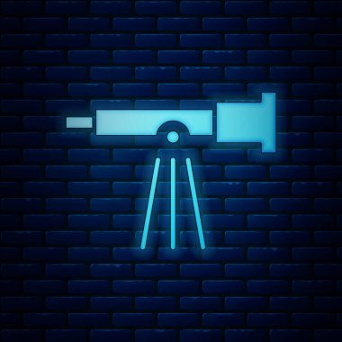 Glowing neon Telescope icon isolated on brick wall background. Scientific tool. Education and astronomy element, spyglass and study stars. Vector Illustration