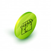 Isometric line Barbershop building icon isolated on white background. Green circle button. Vector Illustration