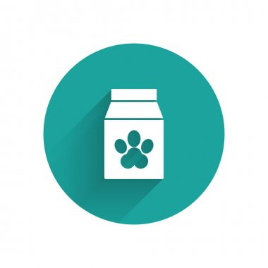 White Bag of food for pet icon isolated with long shadow. Food for animals. Pet food package. Dog or cat paw print. Green circle button. Vector Illustration