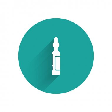 White Pets vial medical icon isolated with long shadow. Prescription medicine for animal. Green circle button. Vector Illustration