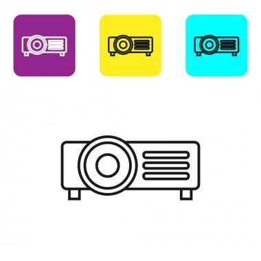 Black line Presentation, movie, film, media projector icon isolated on white background. Set icons colorful square buttons. Vector Illustration