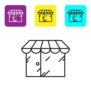 """Картина, постер, плакат, фотообои """"черная линия парикмахерская здания иконка изолированы на белом фоне. настроить иконки красочные квадратные кнопки. векторная миграция """", артикул 323269788"""