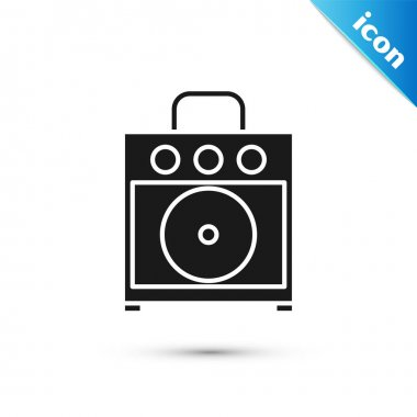 Black Guitar amplifier icon isolated on white background. Musical instrument. Vector Illustration