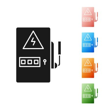 Black Electrical panel icon isolated on white background. Set icons colorful. Vector Illustration