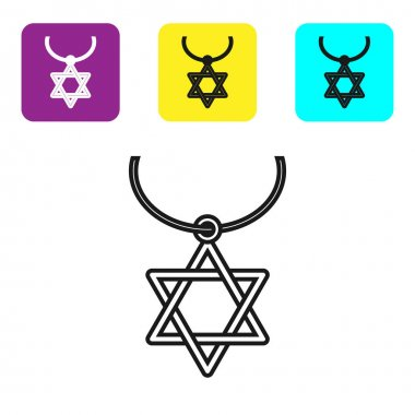 Black line Star of David necklace on chain icon isolated on white background. Jewish religion symbol. Symbol of Israel. Jewellery and accessory. Set icons colorful square buttons. Vector Illustration