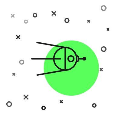 Black line Satellite icon isolated on white background.  Vector Illustration
