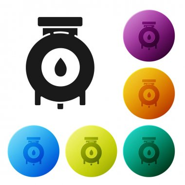 Black Oil and gas industrial factory building icon isolated on white background. Set icons colorful circle buttons. Vector Illustration