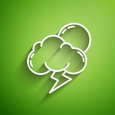 White line Storm icon isolated on green background. Cloud with lightning and sun sign. Weather icon of storm.  Vector Illustration