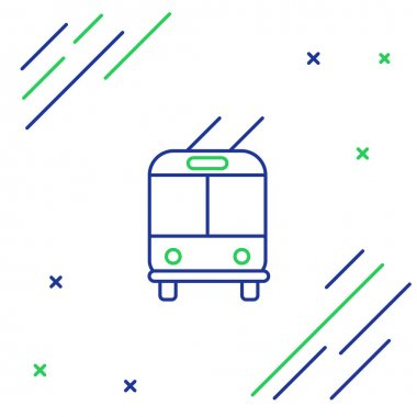Blue and green line Trolleybus icon isolated on white background. Public transportation symbol. Colorful outline concept. Vector Illustration