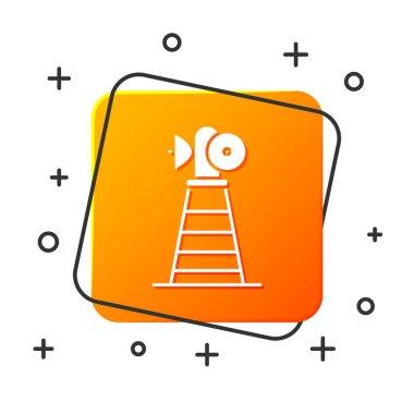 White Antenna icon isolated on white background. Radio antenna wireless. Technology and network signal radio antenna. Orange square button. Vector Illustration